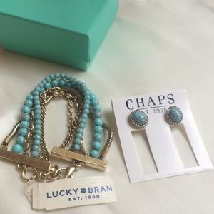 Matched Turquoise Bracelet and Earrings